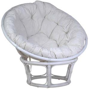 MiaMöbel Sessel Papasan weiß, Ø 100 cm 100% Baumwolle, Rattan Modern