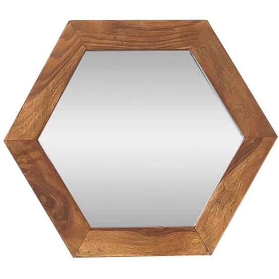 MiaMöbel Spiegel Madras 6-eckig Massivholz Sheesham Modern Indien Indisch