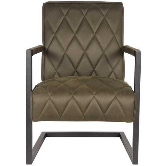 Microfaser Lounge Sessel in Olivgrün Wippfunktion