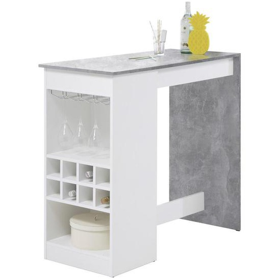 Mid.you Bartisch rechteckig Weiß, Grau , Metall , 50x104x115 cm