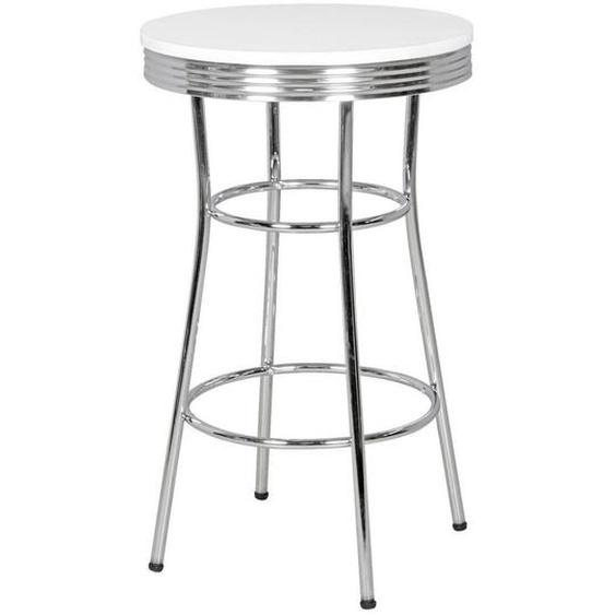 Mid.you Bartisch rund Weiß , Metall , 60x100x60 cm
