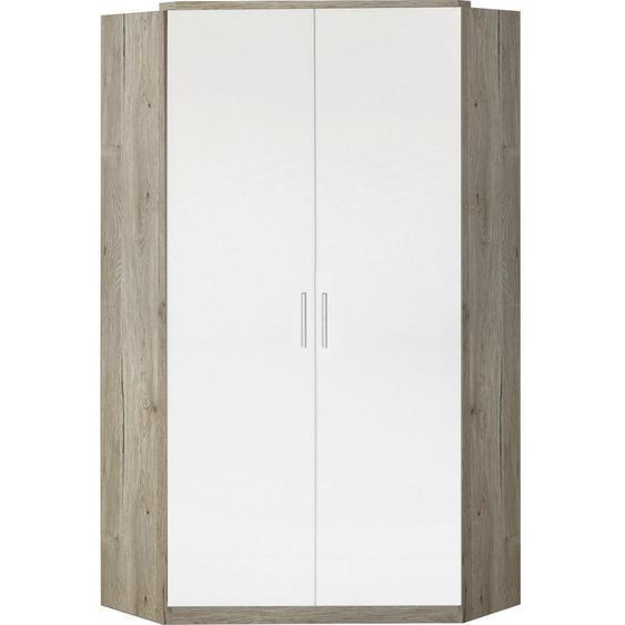 Mid.you Begehbarer Eckschrank Weiß, Braun , Holzwerkstoff , 8 Fächer , 95x198x95 cm