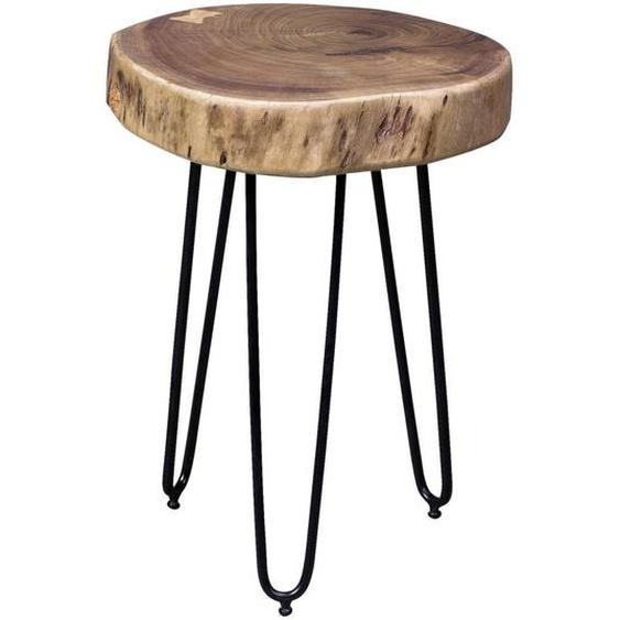 Mid.you Beistelltisch Akazie massiv rund Braun , Holz , 35x45 cm