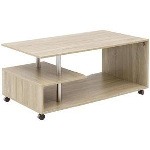 Mid.you Couchtisch , Sonoma Eiche , Kunststoff , rechteckig , 60x48.5 cm , Stauraum , Wohnzimmer, Wohnzimmertische, Couchtische