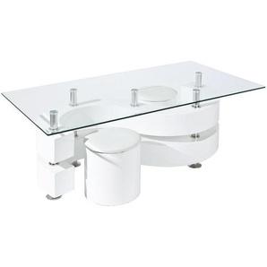 Mid.you Couchtischset , Weiß , Kunststoff , rechteckig , Rundrohr , 70x46 cm , Sitzgelegenheit , Wohnzimmer, Wohnzimmertische, Couchtische