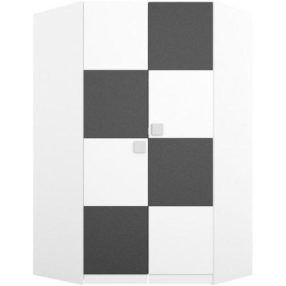 Mid.you Drehtürenschrank 2-türig Weiß , Holzwerkstoff , 9 Fächer , 117x197x117 cm