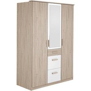 Carryhome: Drehtürenschrank, Holzwerkstoff, Weiß, Eiche, B/H/T 135 199 58