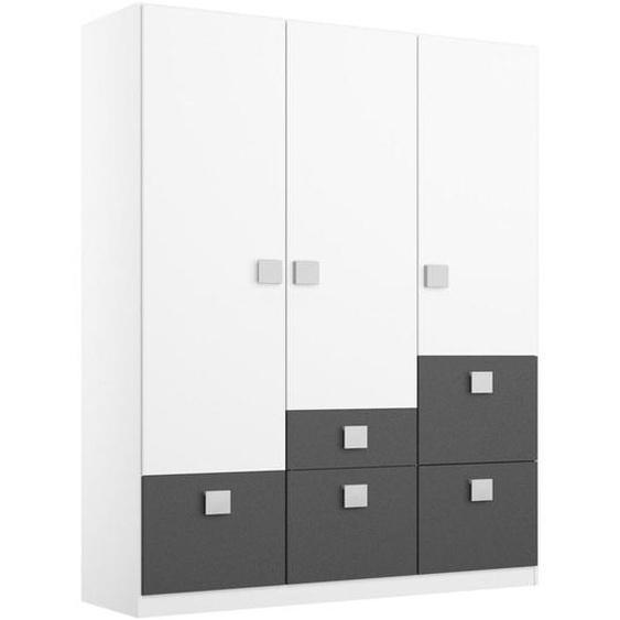 Mid.you Drehtürenschrank 3-türig Weiß , Holzwerkstoff , 2 Fächer , 5 Schubladen , 136x197x54 cm