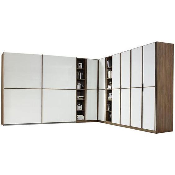 Mid.you Eckkleiderschrank Weiß, Braun , Holzwerkstoff , 20 Fächer , 294 cm