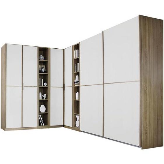 Mid.you Eckkleiderschrank Weiß, Braun , Holzwerkstoff , 21 Fächer , 224 cm