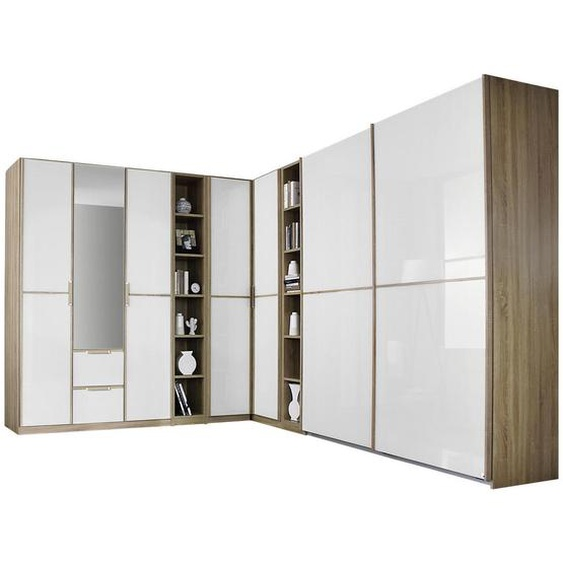 Mid.you Eckkleiderschrank Weiß, Braun , Holzwerkstoff , 22 Fächer , 2 Schubladen , 223 cm