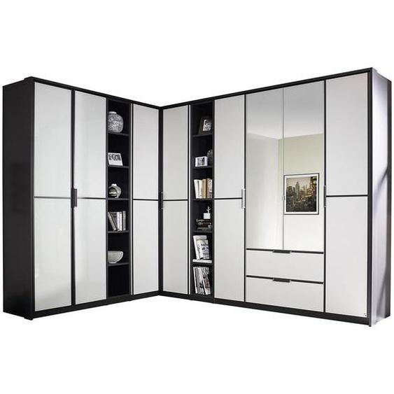 Mid.you Eckkleiderschrank Weiß , Holzwerkstoff , 20 Fächer , 2 Schubladen , 224 cm