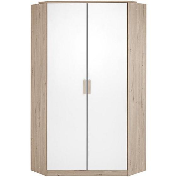 Mid.you Eckschrank Weiß, Braun , Holzwerkstoff , 8 Fächer , 95x198x95 cm
