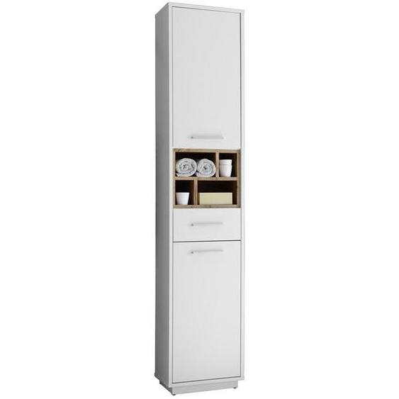 Mid.you Hochschrank Weiß, Braun , Weiß, Eiche , Holzwerkstoff , 2 Fächer , 1 Schubladen , 38x191x30 cm