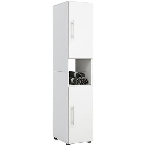 Mid.you Hochschrank Weiß , Holzwerkstoff , Nachbildung , 2 Fächer , 31x160x30 cm