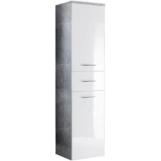 Mid.you Hochschrank Weiß , Weiß, Grau , Holzwerkstoff , 2 Fächer , 1 Schubladen , 40x160x35 cm