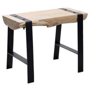 Livetastic Hocker Akazie vollmassiv Braun , Holz , 60x45x28 cm