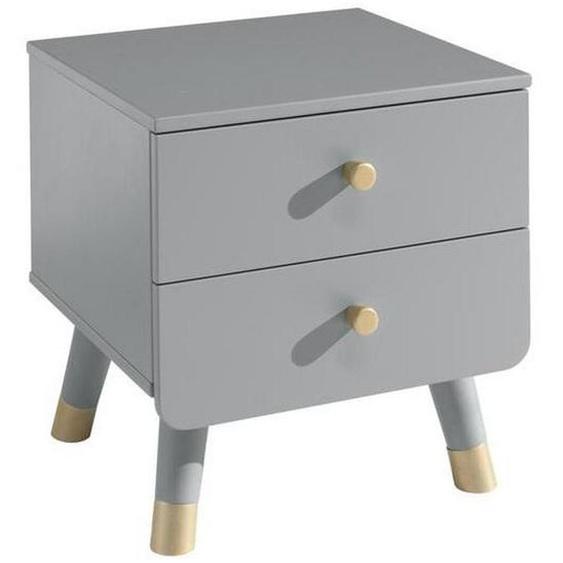 Mid.you Kindernachtkästchen Grau , Kunststoff , 2 Schubladen , 43x45.20x40 cm