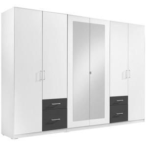 Carryhome: Kleiderschrank, Holzwerkstoff, Graphit, Weiß, B/H/T 270 210 58