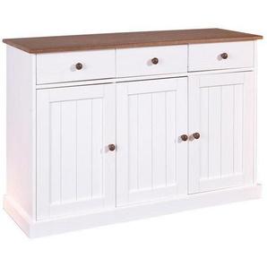 Carryhome: Kommode, Holz,Kiefer, Weiß, B/H/T 130 86 45