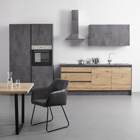 Mid.you Küchenblock E-Geräte , Grau, Eiche , 3 Schubladen , 330 cm