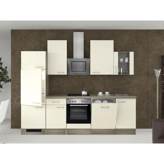 Mid.you Küchenblock E-Geräte, Spüle , Eiche, Edelstahl, Weiß , 1 Schubladen , 280 cm
