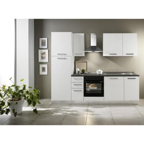 Mid.you Küchenblock E-Geräte, Spüle, Soft-Close-System, Geschirrspüler, Kühlgefrierkombination , Weiß , 3 Schubladen , 255x216x60 cm