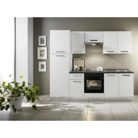 Mid.you Küchenblock E-Geräte, Spüle, Soft-Close-System, Kühlgefrierkombination , Weiß , 1 Schubladen , 250x216x60 cm