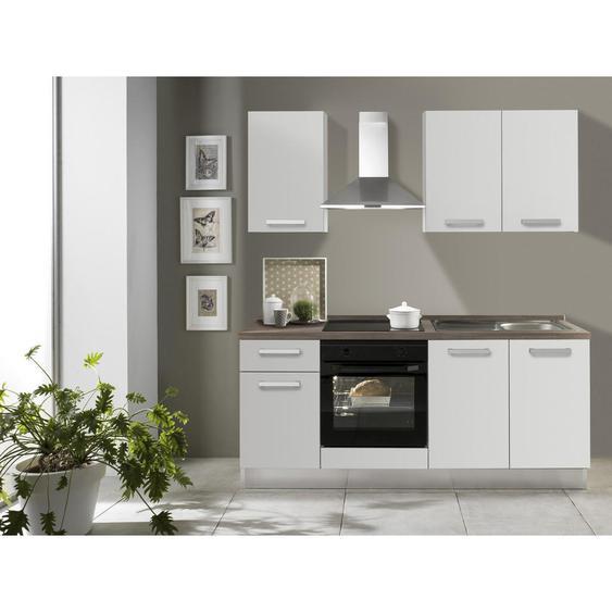 Mid.you Küchenblock E-Geräte, Spüle, Soft-Close-System , Weiß, Eiche , 1 Schubladen , 195 cm
