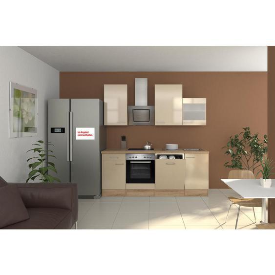 Mid.you Küchenblock E-Geräte, Spüle , Weiß , Glas , 220 cm