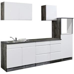 Mid.you Küchenleerblock , Weiß, Eiche , Holzwerkstoff , 5 Schubladen , 270 cm , individuell planbar, links aufbaubar, rechts aufbaubar , Küchen, Küchenmöbel, Küchenzeilen ohne Geräte