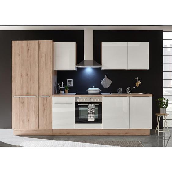Mid.you Küchenleerblock , Weiß, Eiche , Holz , Eiche , 2 Schubladen , 310 cm