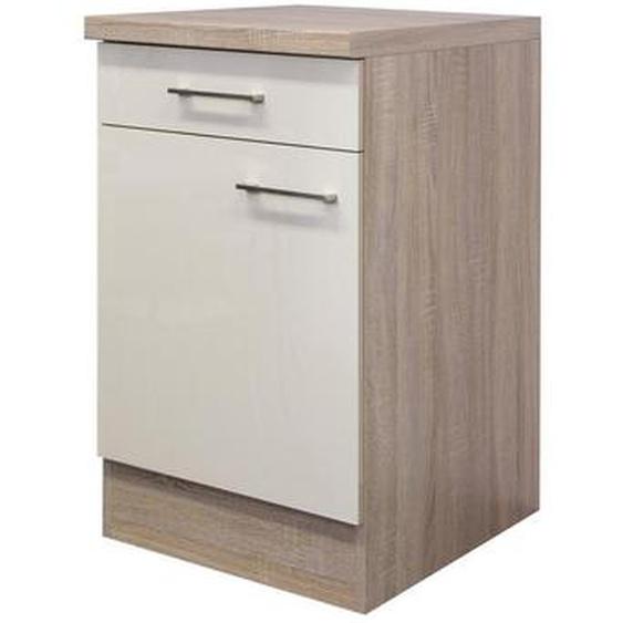 Mid.you Küchenunterschrank , Beige, Weiß , Holzwerkstoff , 1 Fächer , 1 Schubladen , 50x85x60 cm