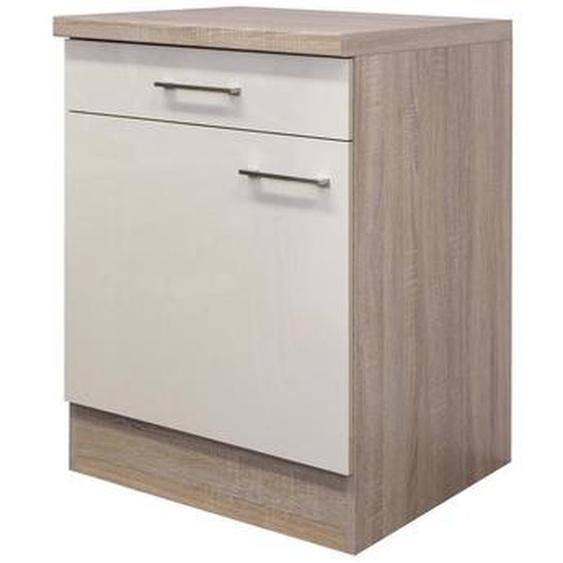 Mid.you Küchenunterschrank , Beige, Weiß , Holzwerkstoff , 1 Fächer , 1 Schubladen , 60x85x60 cm