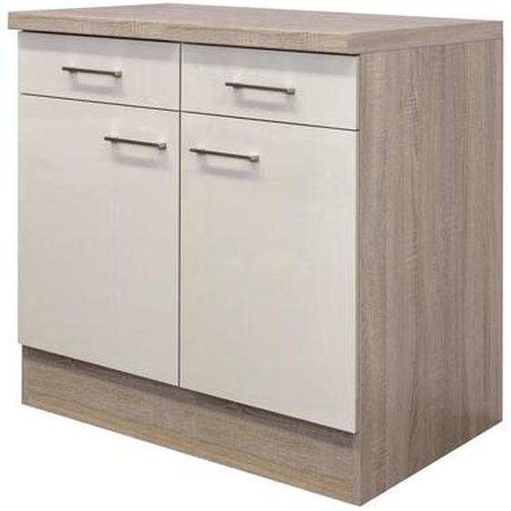 Mid.you Küchenunterschrank , Beige, Weiß , Holzwerkstoff , 1 Fächer , 2 Schubladen , 80x85x60 cm