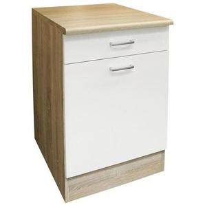 Mid.you Küchenunterschrank , Weiß, Eiche , Holzwerkstoff , 1 Fächer , 1 Schubladen , 50x90x60 cm , Küchen, Küchenmöbel, Küchenzeilen & Küchenblöcke