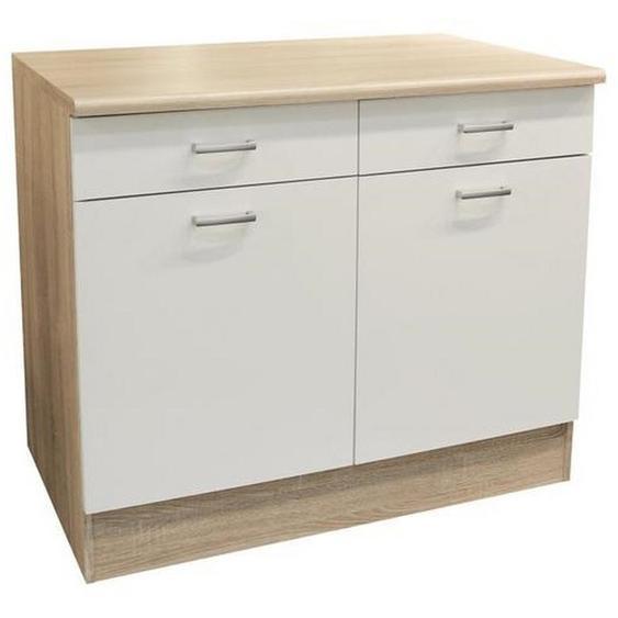 Mid.you Küchenunterschrank , Weiß, Eiche , Holzwerkstoff , 1 Fächer , 2 Schubladen , 100x90x60 cm