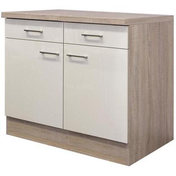 Mid.you Küchenunterschrank , Weiß , Holzwerkstoff , 1 Fächer , 2 Schubladen , 100x85x60 cm