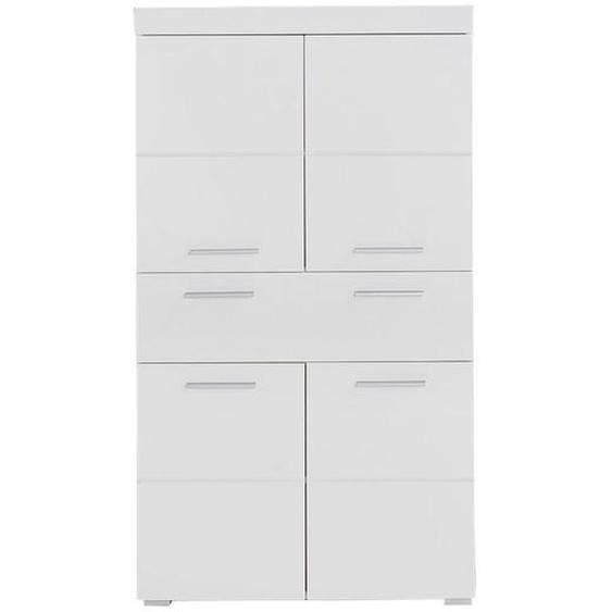 Mid.you Midischrank Weiß , Holzwerkstoff , 2 Fächer , 1 Schubladen , 73x130x31 cm