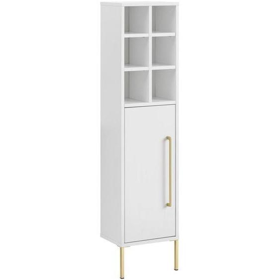 Mid.you Midischrank Weiß , Holzwerkstoff , 30.4x130.6x21.8 cm