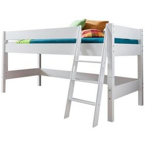 Livetastic Mittelhohes Bett Buche massiv Weiß , Holz , Echtholz , 127x113x208 cm