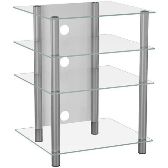 Mid.you Phonotisch Metall, Glas Weiß, Grau , 54x70x47 cm