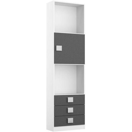 Mid.you Regalelement Weiß , Kunststoff , 3 Schubladen , 47x197x33 cm
