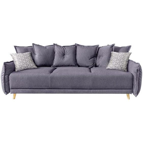 Mid.you Schlafsofa Webstoff Grau , Textil , Kiefer , Uni , 3-Sitzer , 230x80x100 cm