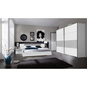 Mid.you Schlafzimmer , Weiß, Grau , 2 Fächer , 180 cm