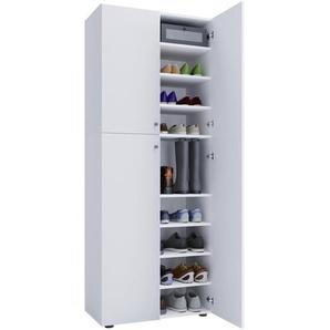 Mid.you Schuhschrank , Weiß , Holzwerkstoff , 70x182x37 cm , Garderobe, Schuhschränke