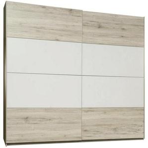 Carryhome: Schwebetürenschrank, Holzwerkstoff, Eiche, Weiß, B/H/T 220 210 61
