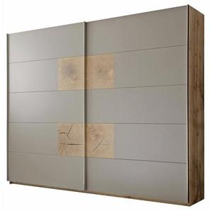 Carryhome: Schwebetürenschrank, Holzwerkstoff, Grau, Eiche, B/H/T 280 230 60