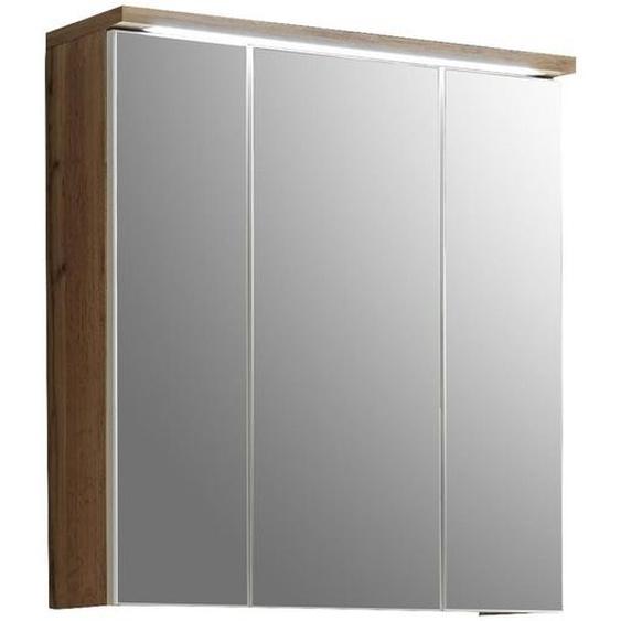 Mid.you Spiegelschrank Braun , Holzwerkstoff , 3 Fächer , 70x74x20 cm