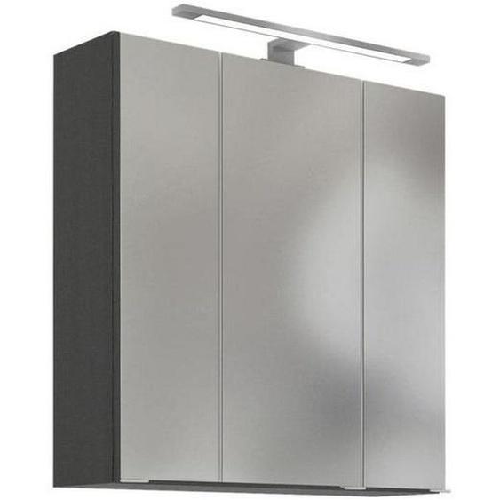 Mid.you Spiegelschrank Grau , Braun , Glas , Nachbildung , 60x64x20 cm